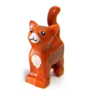 Dark Orange Cat with Dark Tan Chest and Muzzle, Brown Stripes, and Bright Pink Nose Pattern