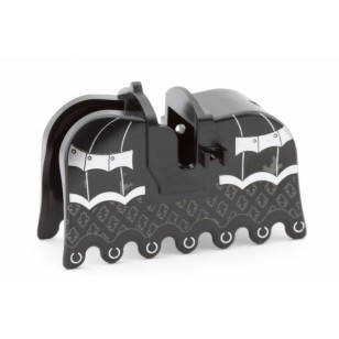 LEGO Animal Accessories - Black Horse Barding, Ruffled Edge with Silver Armor and Fleur de Lis Pattern