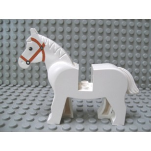 LEGO Animals - White Horse with Black Eyes, White Pupils, Brown Bridle Pattern