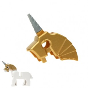 LEGO Animal Accessories - Metallic Gold Horse Battle Helmet, include Pearl Light GrayUnicorn