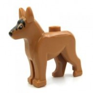 LEGO Animals - Medium Dark Flesh Dog Alsatian / German Shepherd (Police Dog) with Black Eyes and Forehead Pattern