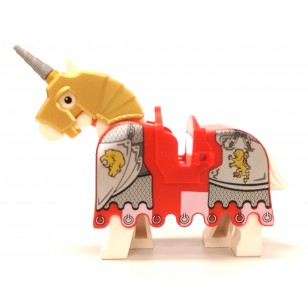 LEGO Battle Horse - White Horse , Red Barding, Golden Helmet