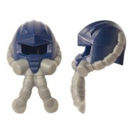 LEGO Minifigure Headgears - Dark Blue Headgear Helmet Space with Air Mask with Flexible Gray Hoses (Zaku alike)