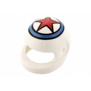 White Minifig, Headgear Helmet Standard with Red Star In Blue Circle Pattern