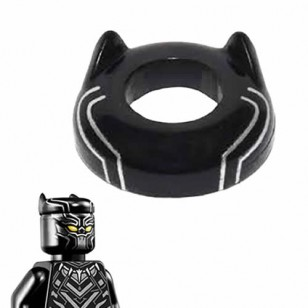 LEGO Minifigure Headgears - Black Panther Headgear Head Top with Ears and Silver Lines Pattern