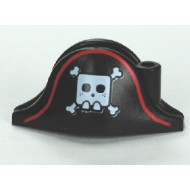 LEGO Minifigure Headgears - Black Hat, Pirate Bicorne with Large Square Skull and Crossbones and Red Line Pattern