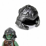 LEGO Minifigure Headgears - Speckle Black-Silver Helmet Castle with Cheek Protection and Thin Bands (Troll)