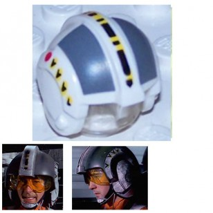 LEGO Minifigure Headgears - Star Wars Rebel Pilot with Dark Bluish Gray Rectangles Pattern (Set 6212)