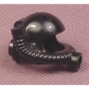 Black Minifig, Headgear Helmet Underwater with Hose - Used