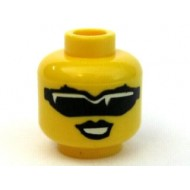Yellow Minifig, Head Female with Black Sunglasses and Black Lips Pattern
