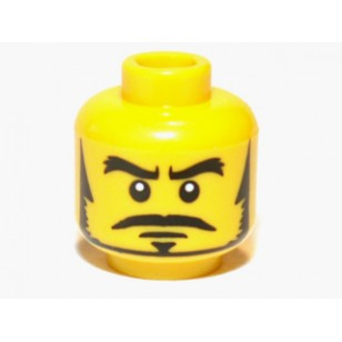 Yellow Minifig, Head Male Black Thick Eyebrows, Sideburns, Goatee, Moustache and White Pupils Pattern
