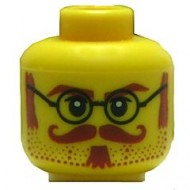 Yellow Minifig, Head Glasses with Brown Sideburns, Moustache and White Pupils Pattern