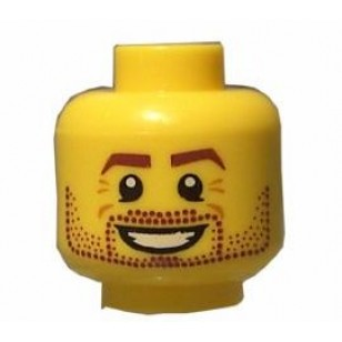 Yellow Minifig, Head Beard Stubble, Brown Eyebrows, White Pupils and Open Smile Pattern