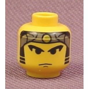 Yellow Minifig, Head Male Gray Bandana with Gold Dot, Eyebrows, Sideburns Pattern