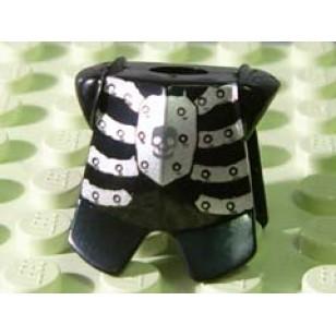 LEGO Minifigure Bodywears - Black Minifig, Armor Breastplate with Leg Protection, Fantasy Era Skeleton Pattern