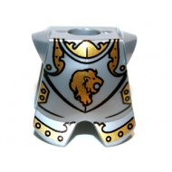 LEGO Minifigure Bodywears - Flat Silver Minifig, Armor Breastplate with Leg Protection, Kingdoms Lion Head Pattern