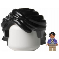 Black Minifig, Hair Swept Back Tousled