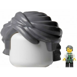 LEGO Minifigure Hair- Dark Bluish Gray Minifig, Hair Swept Back Tousled