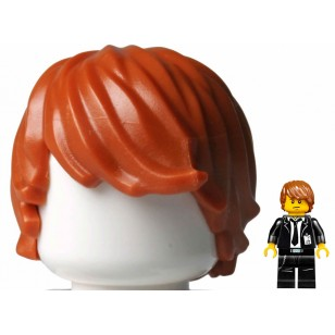 LEGO Minifigure Hair- Dark Orange Minifig, Hair Tousled with Side Part