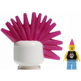 LEGO Minifigure Hair- LEGO Minifigure Headgears - Magenta Minifig, Headgear Hair Mohawk