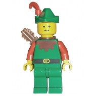 LEGO Castle Minifigures - Forestman - Red, Green Hat, Red Feather, Quiver (6066)