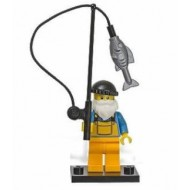 LEGO Series 3 Minifigures Minifigures - Fisherman - Complete Set (sliver fish & black hat)
