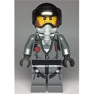 LEGO City Minifigures - Sky Police - Jail Prisoner Jacket over Prison Stripes, Black Helmet, Oxygen Mask