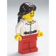 LEGO City Minifigures - Blouse with Buttons, Belt and Necklace, Red Legs, Dark Brown Hair Ponytail Long French Braided