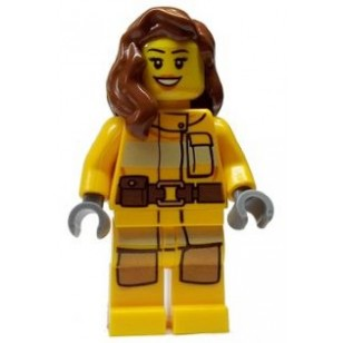 LEGO Fire Minifigures - Fire - Bright Light Orange Fire Suit with Utility Belt, Reddish Brown Female Hair over Shoulder