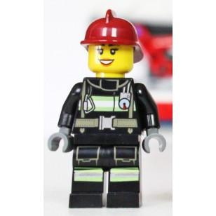 LEGO Fire Minifigures - Fire - Reflective Stripes with Utility Belt, Dark Red Fire Helmet, Black Eyebrows