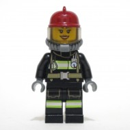 LEGO Firewoman - Reflective Stripes with Utility Belt with Gear