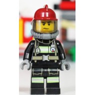 LEGO Fire Minifigures - Fire - Reflective Stripes with Utility Belt, Dark Red Fire Helmet, Yellow Airtanks, Sweat Drops