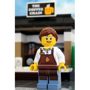 LEGO City Minifigures - City Square Barista - Reddish Brown Apron with Cup, Reddish Brown Ponytail and Swept Sideways Fringe, Glasses and Smile