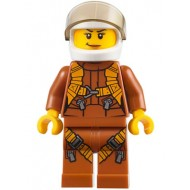 LEGO City Minifigures - City Jungle Helicopter Pilot Female - Dark Orange Jumpsuit,