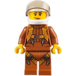 LEGO City Minifigures - City Jungle Helicopter Pilot Female - Dark Orange Jumpsuit,