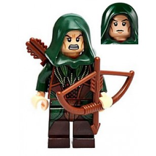 LEGO Mirkwood Elf Archer - Dark Green Outfit, Dual Sided Head with Weapon