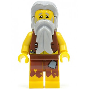 LEGO Pirates II Minifigures - Pirate Vest and Anchor Tattoo, Gray Beard, Gray Hair (Castaway)