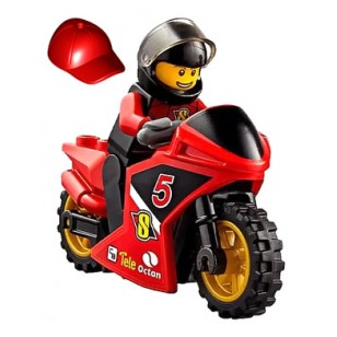 LEGO City Minifigures - Racing Bike Driver - Black Helmet 連電單車