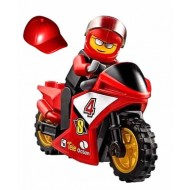 LEGO City Minifigures - Racing Bike Driver with BIKE - Red Helmet