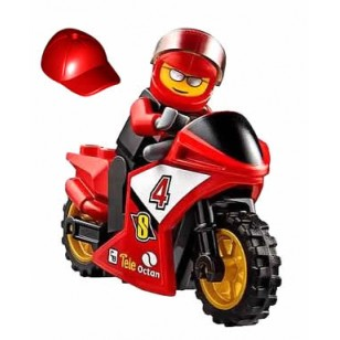 LEGO City Minifigures - Racing Bike Driver - Red Helmet  連電單車