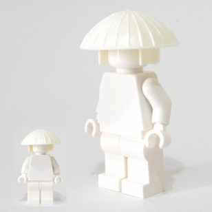Minifigcat Monk's Hat- white with White Hood Kasanuno
