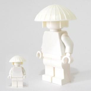 Minifigcat Monk's Hat- white with White Hood Kasanuno