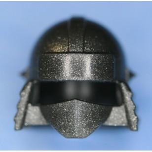 Minifigcat Ninja Helmet(A) - Metallic Speckle Silver