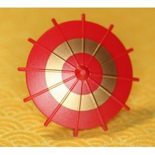 Minifigcat Japanese Umbrella - Dark Red (Gold Circle)-(Printed parts-EP1601)