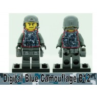 Minifigcat PRINTED D.BLUE CAMO B12 Vest - BLACK