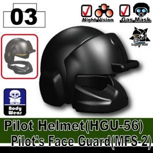 Minifigcat HGU-56 Pilot's Full Helmet  - BLACK