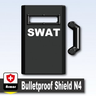 Minifigcat N4 Bulletproof Shield - Black_Bulletproof Shield N4 (SWAT)