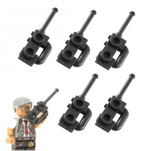 Black Minifig, Utensil Radio with Compact Handle / Walkie Talkie