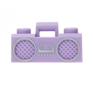 Lavender Minifig, Utensil Radio Boom Box with Handle and Silver Trim Pattern