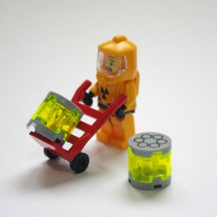 2 Chemical Cans with Used Trolley (Not include minifigures)